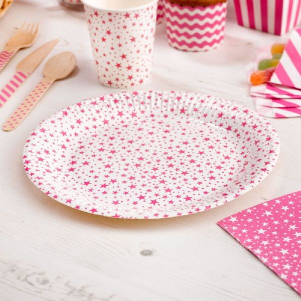 Carnival Pink Paper Plates - Stars (8)